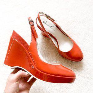 Kenneth Cole Shiny Orange Wedge Heel Pump Sz 7.5